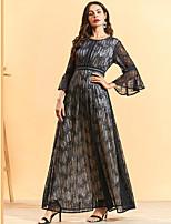 cheap -Women's Swing Dress Maxi long Dress - Long Sleeve Floral Lace Patchwork Fall Plus Size Casual Elegant 2020 Black M L XL XXL 3XL 4XL