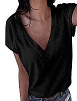 cheap -women's v neck shirts casual blouse short sleeve loose fit tops black