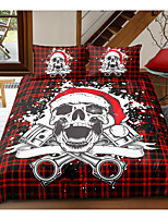 cheap -Skull Series Grid Print 3-Piece Duvet Cover Set Hotel Bedding Sets Comforter Cover with Soft Lightweight Microfiber For Holiday Decoration(Include 1 Duvet Cover and 1or 2 Pillowcases)