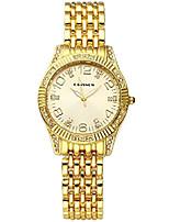 cheap -women casual elegant gold tone metal bracelet watch rhinestone arabic numeral scale quartz analog dress watch