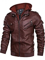 cheap -men's casual stand collar jackets pu faux leather motorcycle jackets bomber jacket feaux leather jacket for men with a removable hood