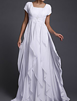 cheap -A-Line Elegant Minimalist Wedding Guest Formal Evening Dress Scoop Neck Short Sleeve Floor Length Chiffon with Tier 2020