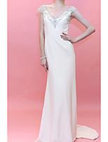 cheap -Sheath / Column Elegant Luxurious Engagement Formal Evening Dress V Neck Sleeveless Court Train Satin with Appliques 2020