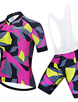 cheap -Men's Women's Short Sleeve Cycling Jersey with Bib Shorts Lycra Polyester Black / Red Blue+Silver Black / Yellow Skull Camo / Camouflage Bike Clothing Suit Breathable 3D Pad Quick Dry Reflective