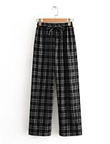 cheap -Women's Basic Streetwear Comfort Daily Going out Wide Leg Pants Pants Plaid Checkered Full Length Print Drawstring Black Gray