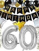 cheap -classy 60th birthday party decorations kit-black happy brithday banner,silver 60 mylar foil balloon, star, latex balloon,hanging swirls, perfect sixty years old party supplies