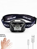 cheap -usb rechargeable led headlamp with hand-free motion sensor, white&red light, waterproof outdoor head torch, for outdoor/indoor activities, diyer, camping, running, hiking, cycling, fishing, kids