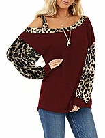 cheap -womens casual loose shirts long sleeve blouses leopard print tunic cold shoulder tops(wine red,small)