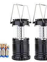 cheap -30 led portable outdoor camping lantern with 6 aa batteries - camping outdoor hiking fishing lamp - survival kit for emergency, hurricane, storm, power outage - 2 pack (black)