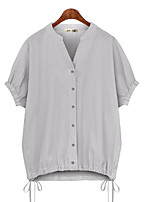 cheap -Women's Plus Size Blouse Shirt Striped V Neck Tops Streetwear Basic Top Red Gray