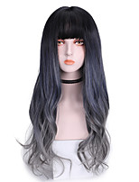 cheap -Synthetic Wig Curly With Bangs Wig Long Blue Synthetic Hair 26 inch Women's Cool Ombre Hair Comfy Blue