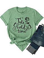 cheap -women tale as old as time letter graphic print tees short sleeve t shirt olive green