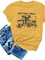 cheap -hold your horses t-shirts women vintage tees cowboy funny graphic tops western retro young blouse size l (yellow)