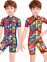 cheap -Boys' Rash Guard Dive Skin Suit Diving Suit Breathable Quick Dry Short Sleeve Front Zip - Swimming Surfing Water Sports Painting Summer / Stretchy / Kid's