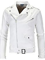 cheap -black punk oblique zipper leather jacket belted design coat (x-large, white)