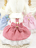 cheap -Dog Cat Dress Plaid Casual / Daily Sweet Wedding Party Dog Clothes Puppy Clothes Dog Outfits Breathable Red Blushing Pink Blue Costume for Girl and Boy Dog Cotton XS S M L XL
