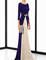 cheap -Sheath / Column Elegant Minimalist Wedding Guest Formal Evening Dress Jewel Neck 3/4 Length Sleeve Sweep / Brush Train Spandex Chiffon with Sash / Ribbon Pleats 2020