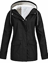 cheap -womens plush thickening rain coat jacket waterproof hooded raincoat windbreaker trench coats (xl, black)