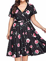cheap -vestido womens fashion casual plus size v-neck floral print bandage short sleeve dress(xl, black)