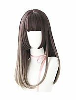 cheap -japanese hime cut wigs long gradient brown straight wig with bangs for girl women synthetic hair lolita cosplay wig,#01