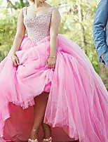 cheap -Ball Gown Luxurious Elegant Quinceanera Engagement Dress Scoop Neck Sleeveless Court Train Tulle with Pleats 2021