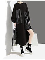 cheap -Women's Shift Dress Midi Dress - Long Sleeve Solid Color Tassel Fringe Patchwork Winter Plus Size Casual Loose 2020 Black One-Size