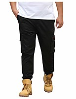 cheap -men's wild cargo pants, limsea plus size loose causal stright pocket relaxed fit long trousers black