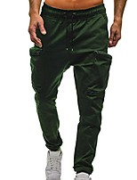 cheap -men's trousers casual overalls retro drawstring classic jogging pants zipper pocket outdoor sweatpants army green