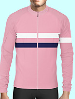 cheap -CAWANFLY Men's Long Sleeve Cycling Jersey Polyester Pink Patchwork Bike Jersey Top Mountain Bike MTB Road Bike Cycling Quick Dry Sports Clothing Apparel / Stretchy / SBS Zipper / Italian Ink