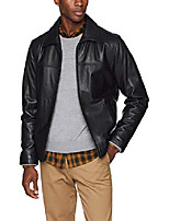 cheap -men's stand collar classic leather jacket, black, small