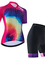 cheap -Women's Short Sleeve Cycling Jersey Cycling Jersey with Bib Shorts Cycling Jersey with Shorts Black Purple Black / White Bike Breathable Quick Dry Sports Graphic Mountain Bike MTB Road Bike Cycling
