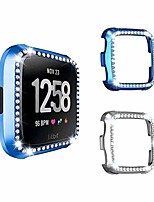 cheap -[2 pack]  bling screen protector compatible with fitbit versa 2, bling crystal bumper pc protective cover case shell smartwatch accessories-blue+silver