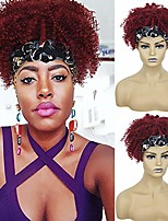 cheap -headband wigs with bangs short afro kinky curly wigs for black women head wrap wigs 2 in 1 synthetic red wig for women afro scarf wigs short curly hair bun ponytail with curly bangs ak006