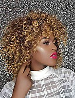 cheap -short curly wigs blonde and brown mixed color,big curl synthetic hair afro kinky wig with bangs for white and black women with free cap