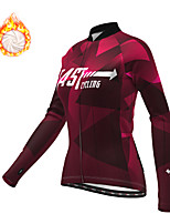 cheap -21Grams Women's Long Sleeve Cycling Jacket Winter Fleece Polyester Red Blue Green Geometic Bike Jacket Top Mountain Bike MTB Road Bike Cycling Thermal Warm Fleece Lining Breathable Sports Clothing