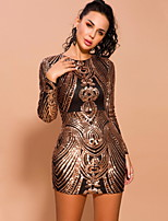 cheap -Sheath / Column Sexy bodycon Party Wear Cocktail Party Dress Jewel Neck Long Sleeve Short / Mini Sequined with Sequin 2020