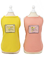 cheap -Dog Shirt / T-Shirt Vest Printed Basic Cute Casual / Daily Dog Clothes Puppy Clothes Dog Outfits Breathable Yellow Pink Costume for Girl and Boy Dog Cotton S M L XL XXL