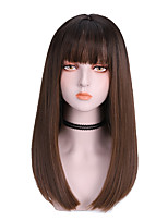 cheap -Synthetic Wig Straight With Bangs Wig Medium Length Light Brown Dark Brown Brown Black Synthetic Hair 16 inch Women's Cute Soft Fluffy Dark Brown Brown