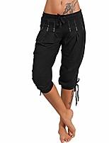cheap -women's fashion summer capri baggy harem pants (black, large)