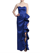 cheap -Sheath / Column Minimalist Sexy Wedding Guest Formal Evening Dress Sweetheart Neckline Sleeveless Floor Length Charmeuse with Ruffles Split 2020