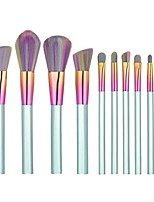 cheap -10pcs set new arrival colorful acrylic handle makeup professional brushes kit rainbow eyeshadow eyeliner blush foundation brushes (blue)