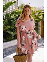 cheap -Women's A-Line Dress Short Mini Dress - Short Sleeve Print Patchwork Print Summer Plus Size Casual Chiffon Slim 2020 Blushing Pink L XL XXL 3XL 4XL