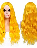 cheap -26 inch yellow long wavy wig synthetic deep wave curly middle part wig for halloween party daily wear