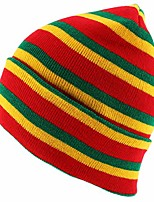 cheap -rasta red green yellow multi colored cuff long beanie hat - red
