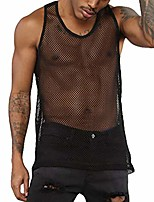 cheap -mens mesh tank tops sleeveless fishnet muscle see through workout vest underwear (black, xxl)