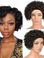 cheap -short curly human hair wig pixie cut curly bob wigs for black women machine made wig none lace natural color