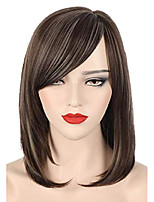cheap -xiudai brown wigs for white women short brown mixed light blonde hair wig natural fashion heat resistant synthetic wigs with bangs for daily party p086