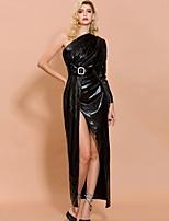 cheap -Sheath / Column Minimalist Sexy Prom Formal Evening Dress One Shoulder Long Sleeve Ankle Length Spandex with Sash / Ribbon Split 2020