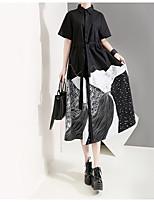 cheap -Women's Shirt Dress Midi Dress - Long Sleeve Print Color Block Patchwork Print Fall Shirt Collar Casual Loose 2020 White Black One-Size