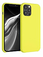 cheap -tpu silicone case compatible with apple iphone 12 pro max - soft flexible rubber protective cover - lemon yellow